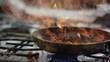 Flambieren von Fleisch in einer Teflon Pfanne - Flambé a piece of meat in a teflon pan 4k PRORES Footage