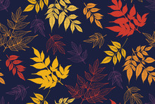 Autumn Seamless Pattern With Leaves. Colourful Vector Background Hand Drawn. Textile Print, Wrapping ,wallpaper.