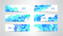 Vector Set Of Blue Banners Wit...