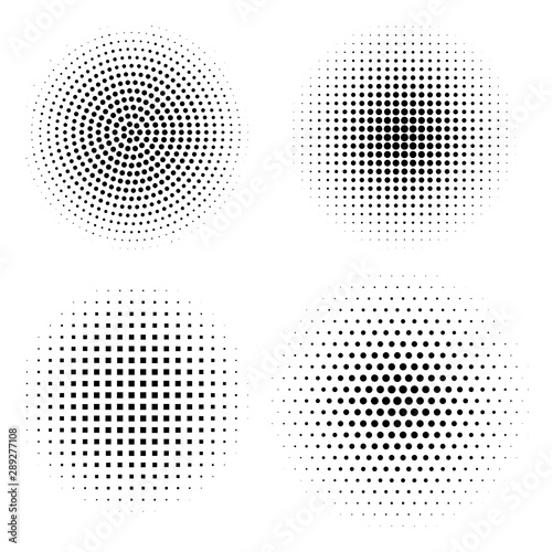 Vector set of halftone design elements. Abstract circles with dotted gradient halftone effect. Black dots on a white background Fototapete