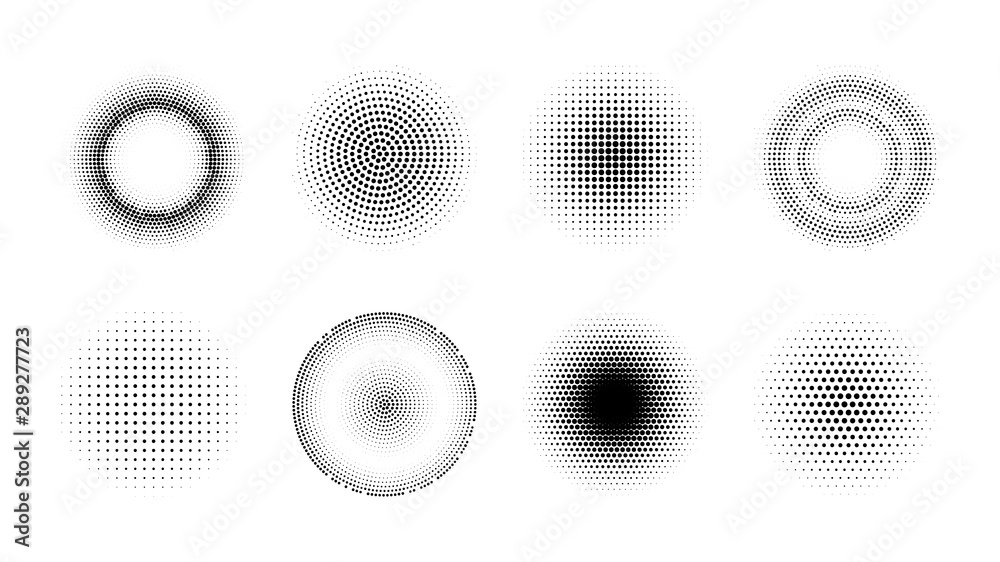 Fototapeta Halftone effect design elements. Set of vector dotted gradient circles. Round shape abstract backgrounds