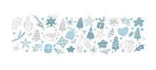 Hand Drawn Vintage Christmas Elements. Set Of Scandinavaian Xmas Toys, Gift Boxes, Stars, Cute Fir Trees, Snowflakes For Greeting Card, Banner, Design