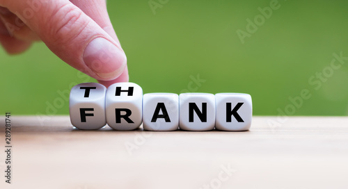 """Dice form th expression """"thank frank""""."""