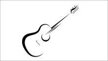 Guitar Icon  Acoustic Musical Instrument Sign Isolated On White Background.