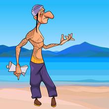 Cartoon Male Yogi Walks Along The Seashore And Composes