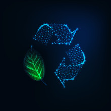 Futuristic Glowing Low Polygonal Recycle Sign With Green Leaf Isolated On Dark Blue Background.