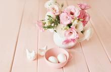 Easter Flowers And Eggs. Festi...