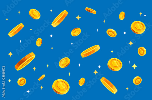 Fotomural  Gold coins money falling vector illustration, flat style dropping coins, isolated on color background