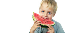 Child Eating Watermelon Isolat...