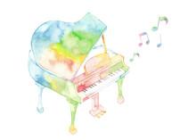 七色ピアノと音符
