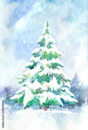 Spoed Fotobehang Lichtblauw Landscape of a spruce and snow.Winter forest.Watercolor hand drawn illustration.
