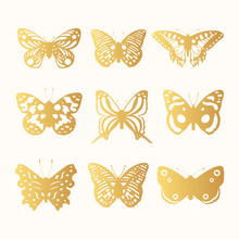 Set Of Golden Ornate Butterfli...