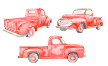 Watercolor Red Old Car Pickup....