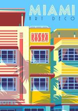 Sunny Day In Miami, USA. Handmade Drawing Vector Illustration.