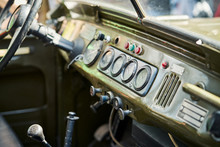 Blurred Interior Of An Old Russian Military Car