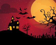 Halloween Background With Silhouettes Of Children On Day Night Halloween Pumpkins And Dark Castle On Blue Moon Background, Illustration.