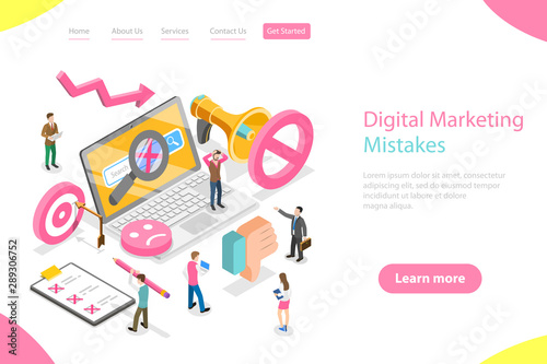 Isometric flat vector landing page template of digital marketing mistakes, wrong strategy, SEO errors Wallpaper Mural
