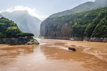 Qutang Gorge Scenic View The First Of The Three Gorges With Yangtze River View And Boat From Baidicheng Village In China
