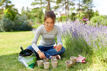 Gardening And People Concept - Happy Young Woman Planting Seeds To Pots At Summer Garden