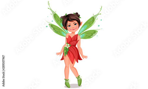 Fotografie, Obraz  Cute little fairy in standing pose vector illustration