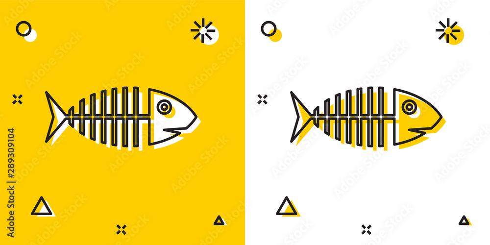 Fototapeta Black Fish skeleton icon isolated on yellow and white background. Fish bone sign. Random dynamic shapes. Vector Illustration