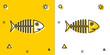 Black Fish skeleton icon isolated on yellow and white background. Fish bone sign. Random dynamic shapes. Vector Illustration