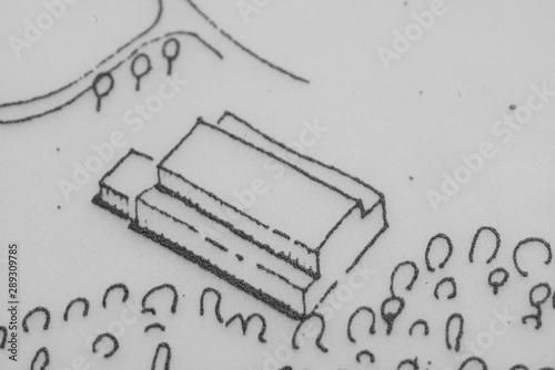 Türaufkleber Darknightsky Building construction illustration