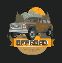 Old American Jeep Vector Drawing Illustration. Good For T-shirt Design Or Any Material Printing Vintage And Retro Lover.