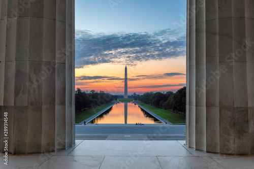Washington, DC, Washington Monument and Reflecting Pool at sunrise from Lincoln Memorial, USA Poster Mural XXL