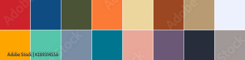 16 color swatches from Color Trend Report for Spring - Summer 2020 in banner for Wallpaper Mural
