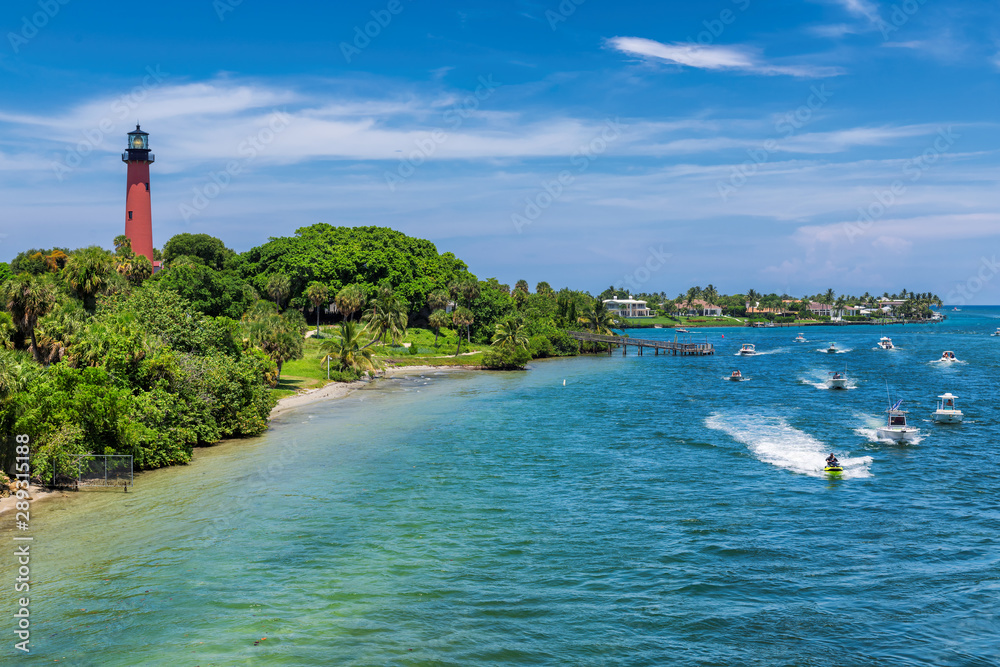 Fototapety, obrazy: Beautiful view of the West Palm Beach County and Jupiter lighthouse at sunny summer day, Florida