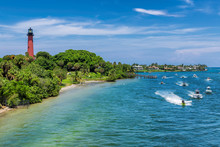 Beautiful View Of The West Palm Beach County And Jupiter Lighthouse At Sunny Summer Day, Florida