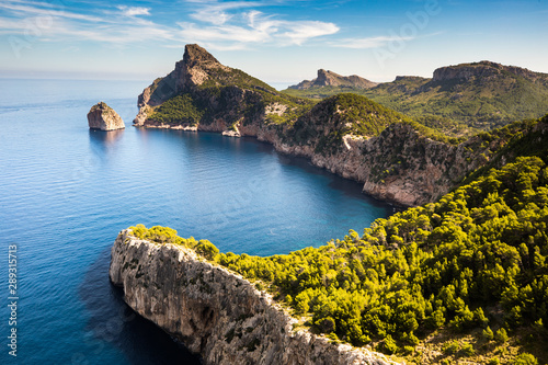 Door stickers Black Cap de Formentor view from Mirador Es Colomer,