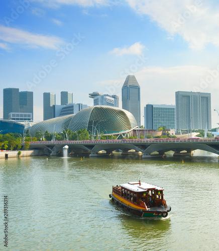Tourist boat Singapore river Esplanade