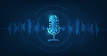 Vector Abstract Icon Microphone On Digital Sound Wave On Dark Blue Color Background.