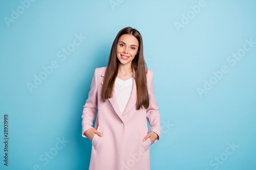 Ingelijste posters Eigen foto Photo of amazing lady in good mood wear pastel color demi-season coat isolated on blue background