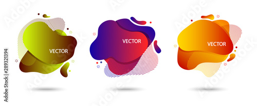 Colorful set of modern abstract banner with shadow, speech bubble different shapes, space for your text Wallpaper Mural