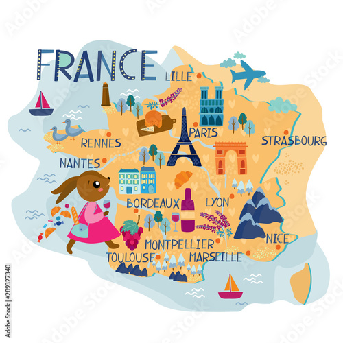 France map for kids Tapéta, Fotótapéta