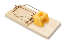 Wooden Mouse Trap With A Piece Of Cheese, Isolated On White Background