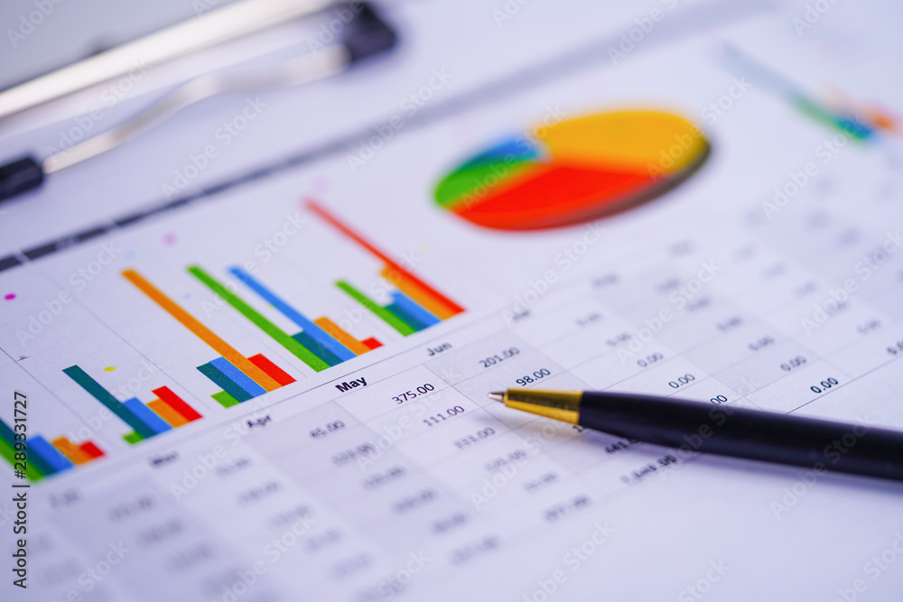 Fototapety, obrazy: Charts Graphs spreadsheet paper. Financial development, Banking Account, Statistics, Investment Analytic research data economy, Stock exchange trading, Business office company meeting concept..