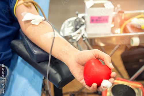 Cuadros en Lienzo  Blood donor at donation, transfusion