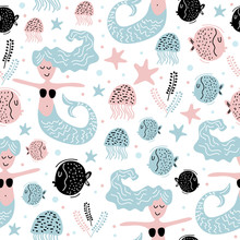 Cute Mermaid, Seaweed, Starfish, And Jellyfish Seamless Pattern With Colorful Nursery Background For Fashion Textile Wrapping And Print. Vector Illustration Hand Drawn Scandinavian Style Drawing.