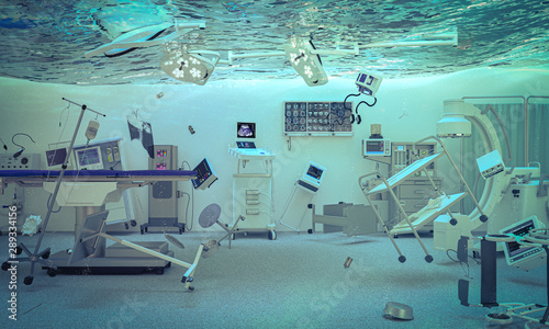 Fotografia  abstract 3d render image of an operating room of a flooded hospital