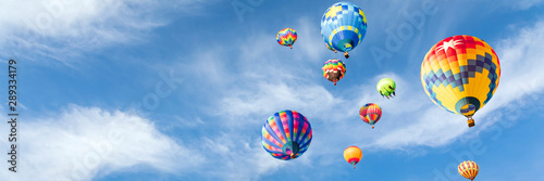 Poster Ballon Colorful hot air balloons in the sky