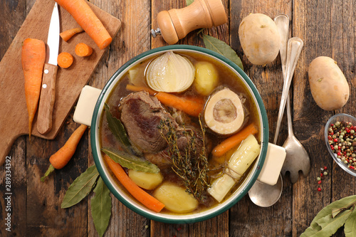 beef stew with broth and vegetable, pot au feu Canvas Print