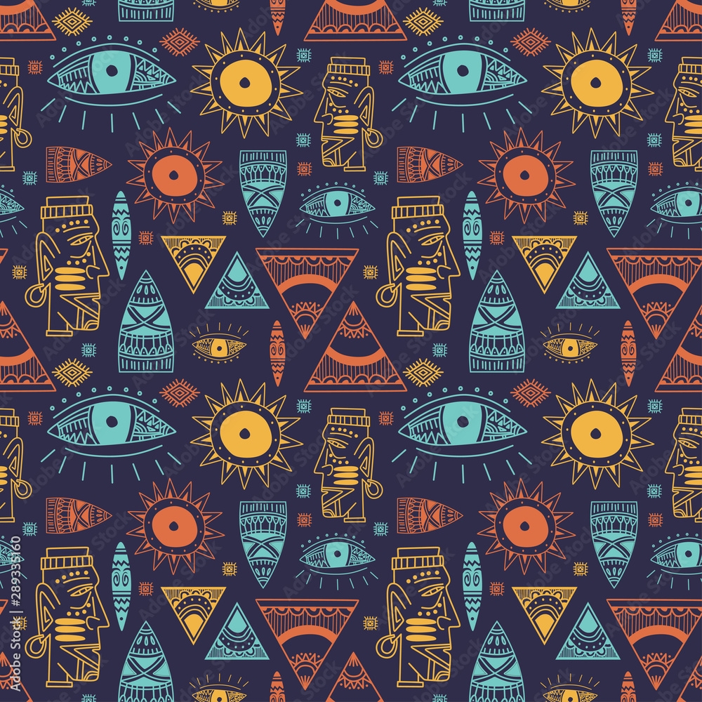 Photo Trendy african maya seamless pattern with doodle hand drawn ancient objects