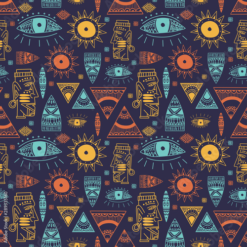 Leinwand Poster Trendy african maya seamless pattern with doodle hand drawn ancient objects