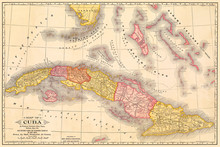 Cuba Antique Map At About The ...