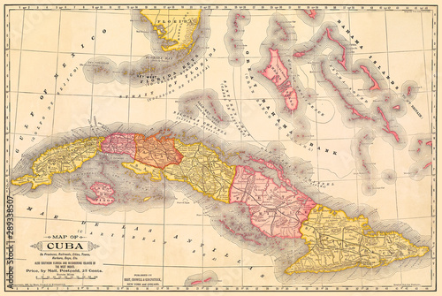 Valokuvatapetti Cuba Antique Map at about the time of the Spanish-American War, 1897
