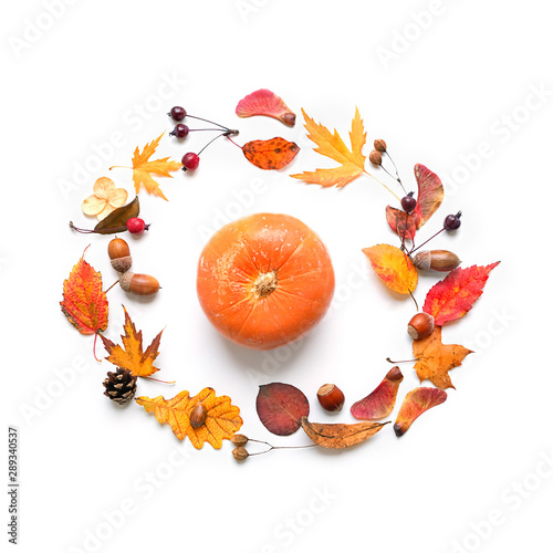 Autumn composition. Orange pumpkin, berries, leaves and acorns isolated on white background. Fall season, thanksgiving and halloween holiday concept. Autumn frame. Flat lay, top view, copy space.